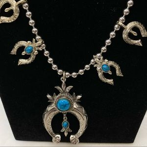 Faux Turquoise Squash Blossom Necklace Earring Set